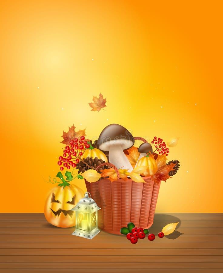 与装饰的秋天背景 皇族释放例证