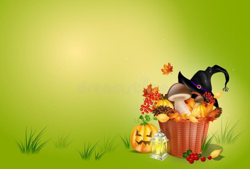 与装饰的秋天背景 向量例证