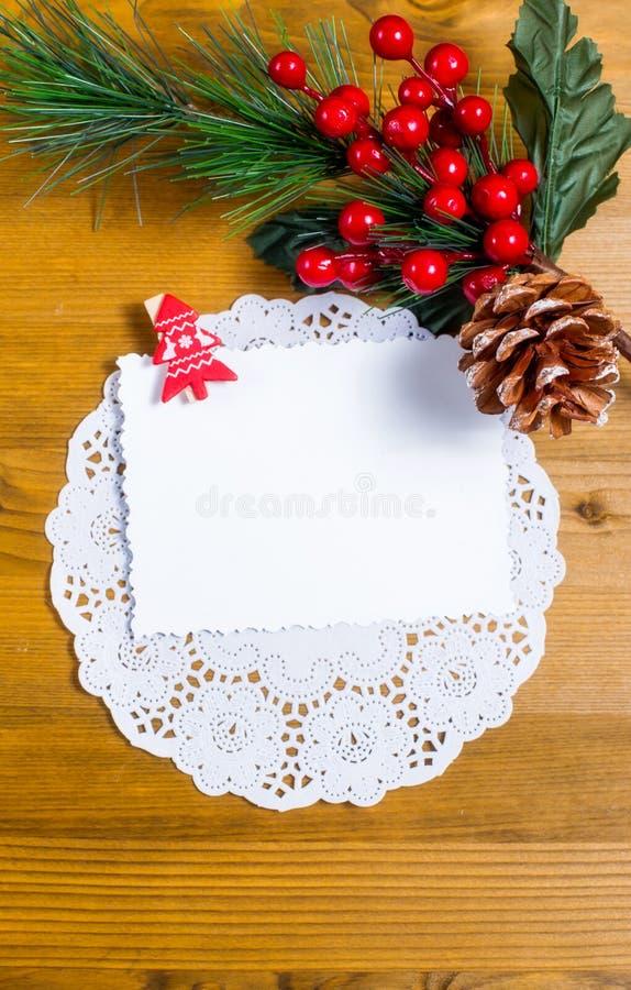 与装饰的空白的圣诞节贺卡 库存照片