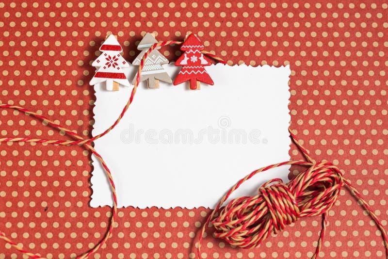 与装饰的空白的圣诞节贺卡 免版税库存照片
