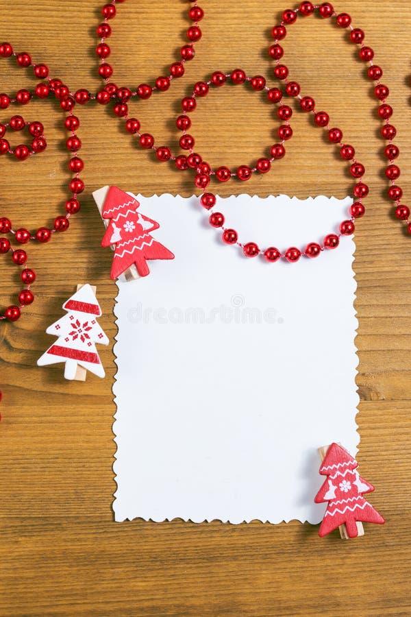 与装饰的空白的圣诞节贺卡 库存图片