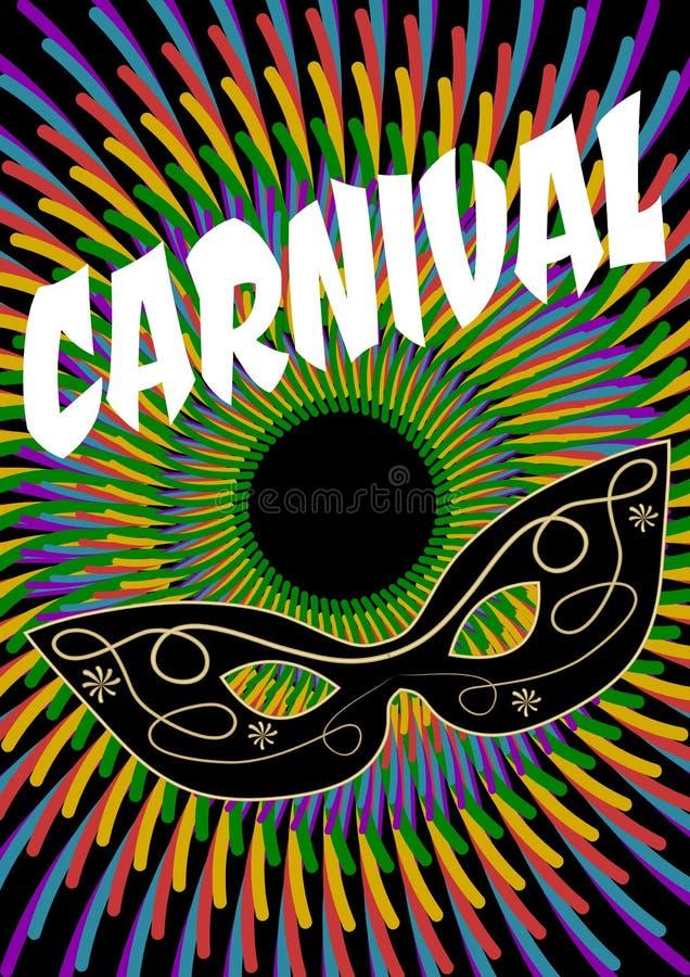 与装饰的面具和白色字法,狂欢节邀请传单,飞行物,装饰的狂欢节多彩多姿的背景 向量例证