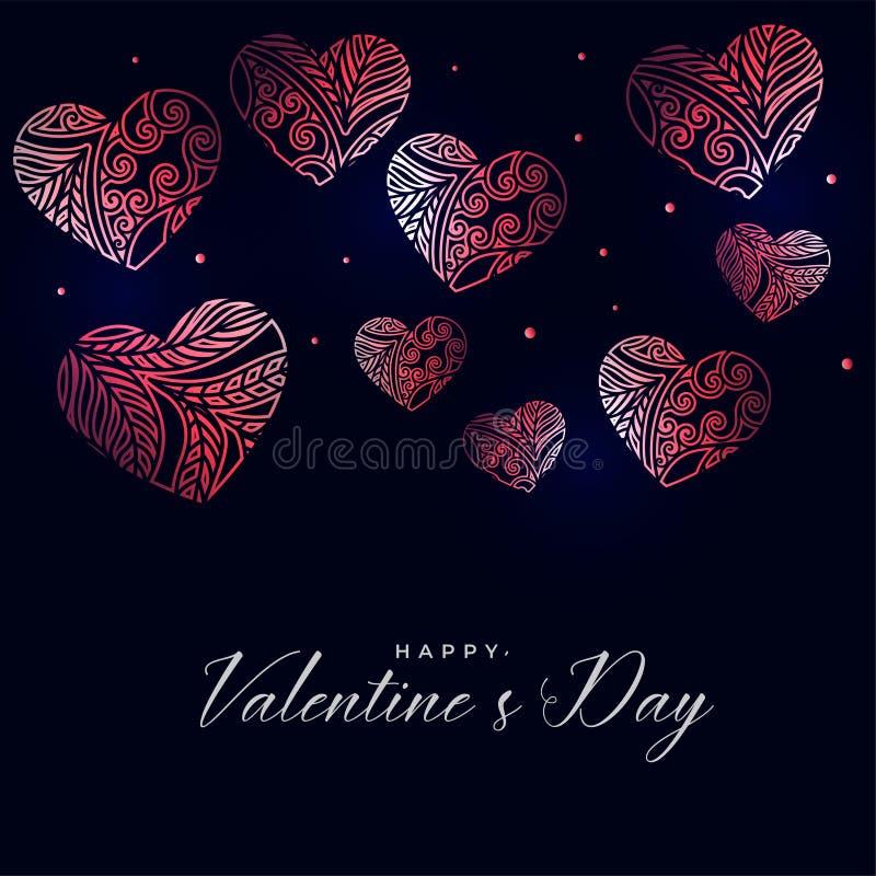 与装饰花卉心脏的黑暗的情人节背景 库存例证
