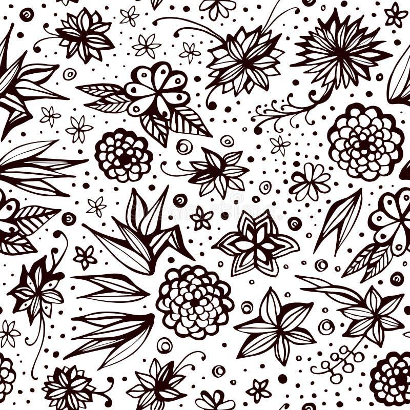 与装饰花和小点的葡萄酒无缝的样式 夏天印刷品 库存例证