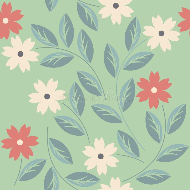 与装饰花的不尽的无缝的样式 向量例证