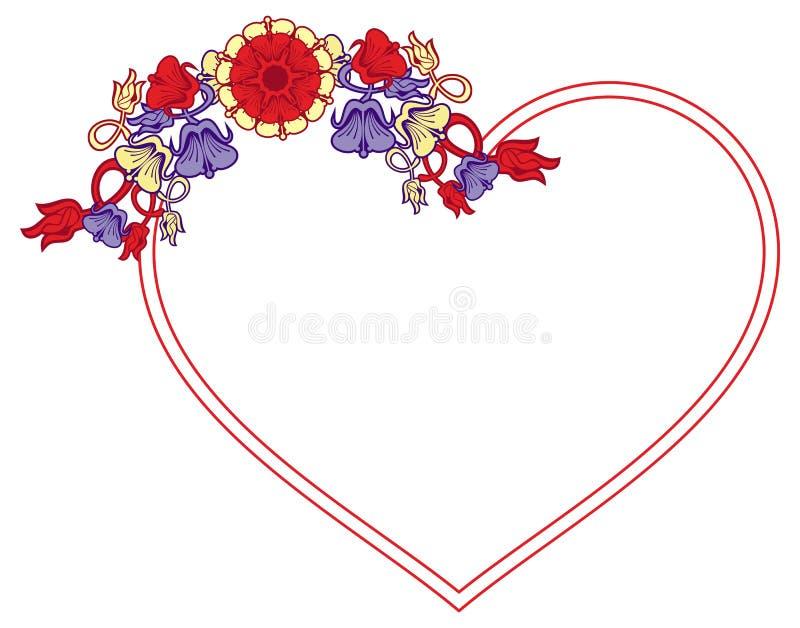 与装饰花的心形的框架 向量例证