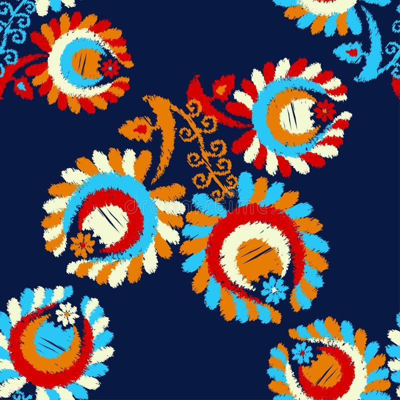与装饰花的无缝的样式与叶子 r ?? 免版税库存图片