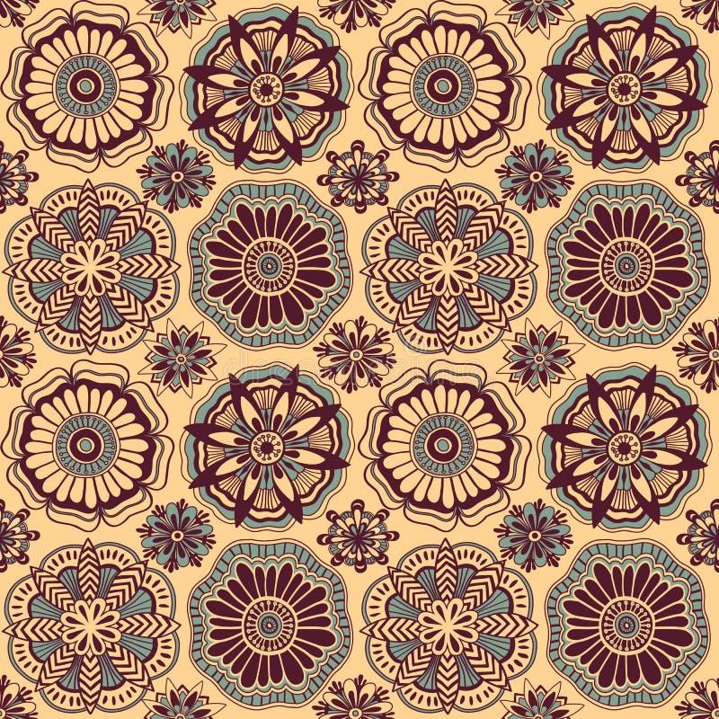 与装饰花的无缝的样式仿照乱画样式 皇族释放例证