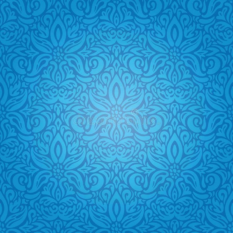 与装饰花的蓝色墙纸背景设计 向量例证