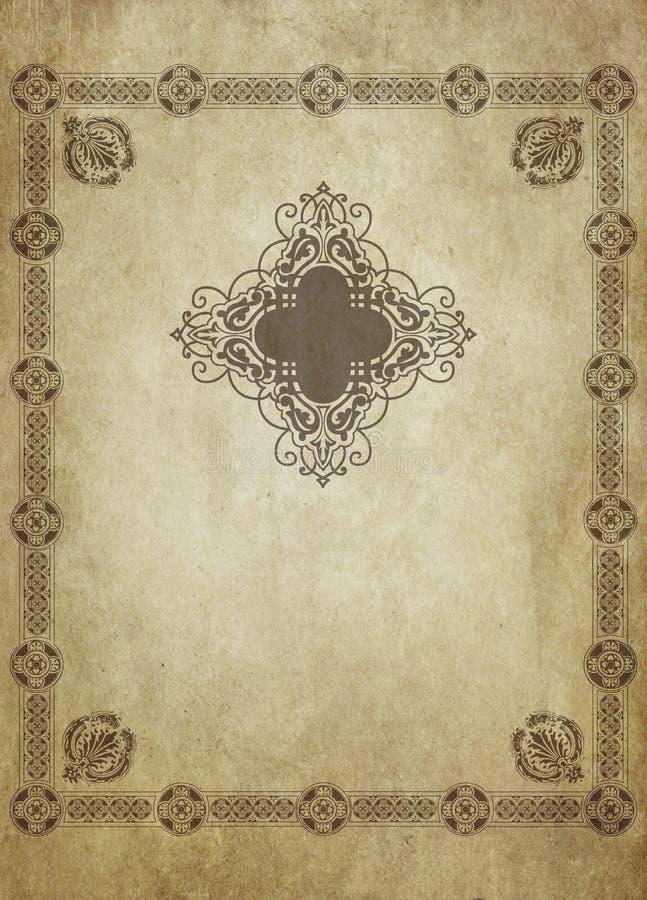 与装饰葡萄酒框架的年迈的被染黄的纸背景 库存例证