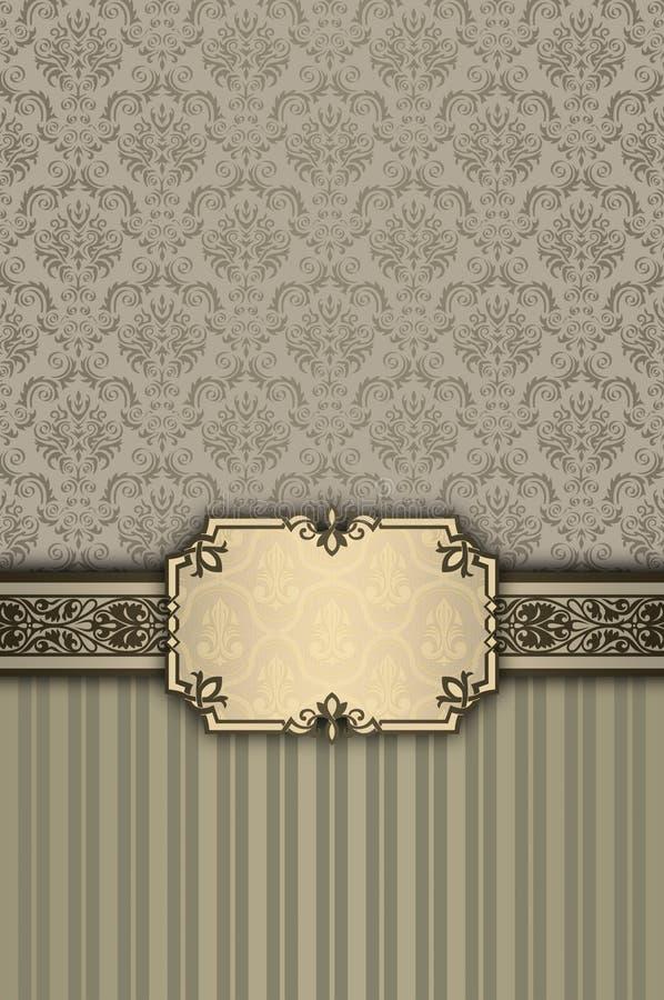 与装饰边界和古板的p的装饰背景 向量例证