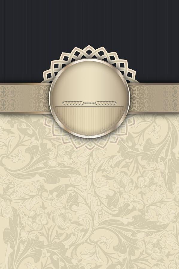 与装饰边界和框架的葡萄酒花卉背景 库存例证