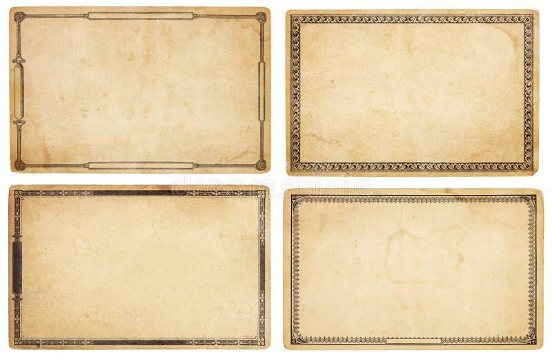 与装饰边界的四个老看板卡 库存图片