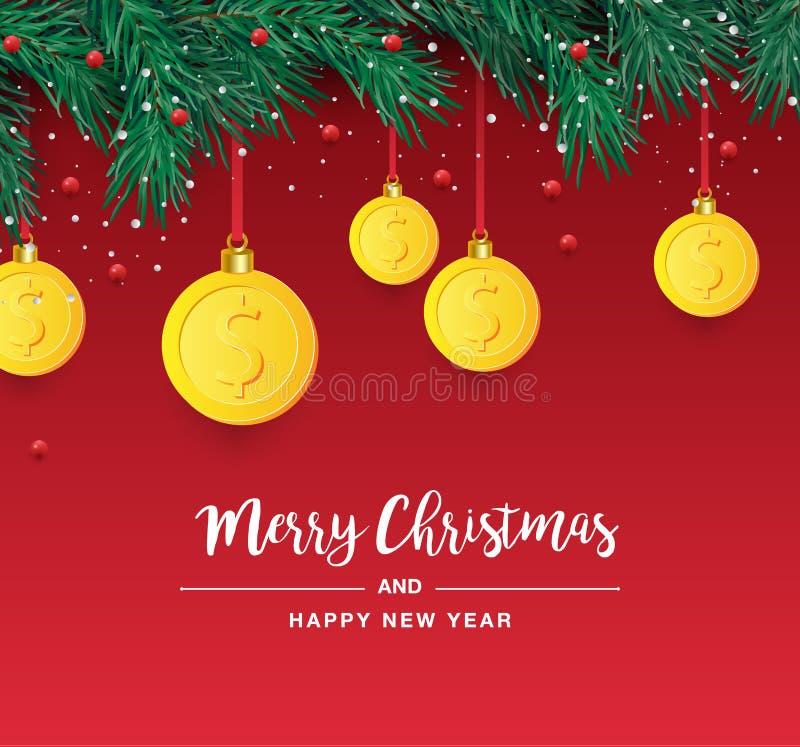 与装饰金美元标志的圣诞树分支 美元的符号当垂悬在杉木枝杈的圣诞节中看不中用的物品 传染媒介图象为 向量例证
