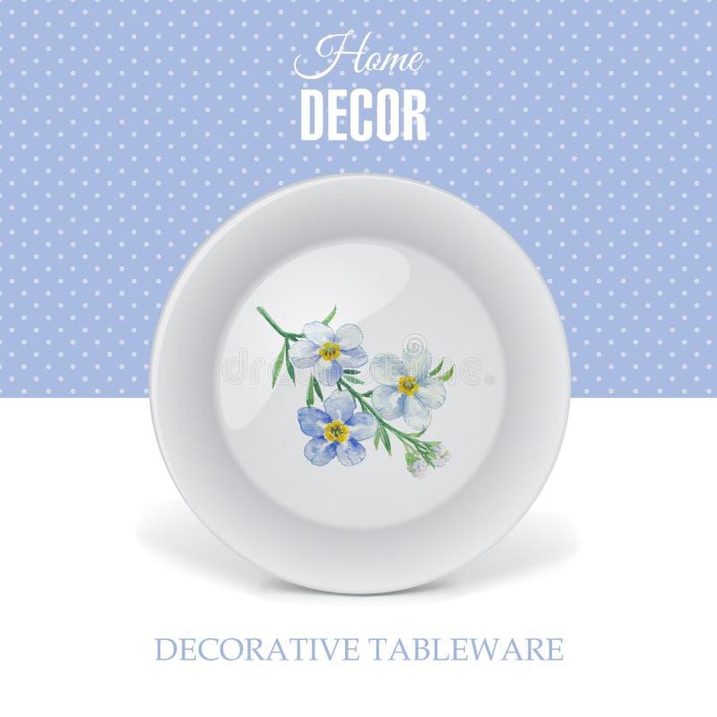 与装饰陶瓷碗筷的广告横幅 向量例证