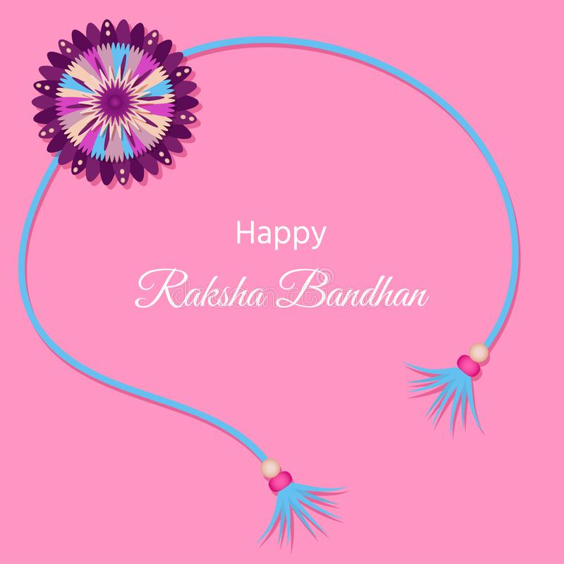 与装饰Rakhi的贺卡Raksha的Bandhan,印地安f 库存例证