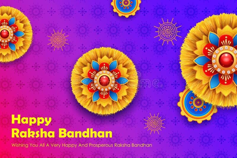 与装饰Rakhi的贺卡Raksha Bandhan背景的 库存例证