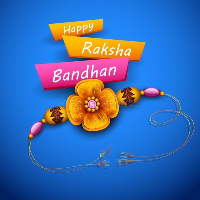 与装饰Rakhi的贺卡Raksha Bandhan背景的 向量例证