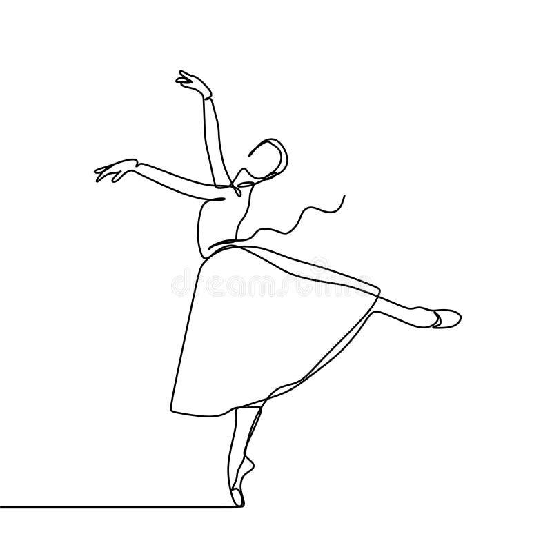 与褂子实线图画传染媒介例证最低纲领派设计的令人敬畏的芭蕾舞女演员女孩跳舞 皇族释放例证