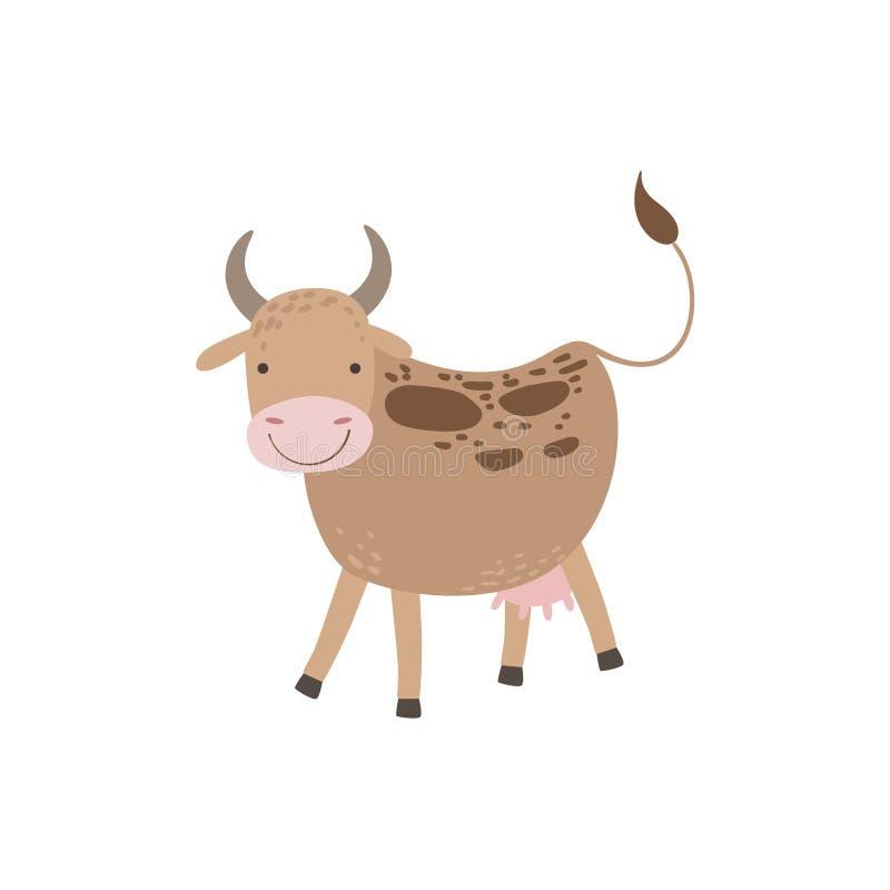 与褐斑病和乳房身分的母牛 库存例证