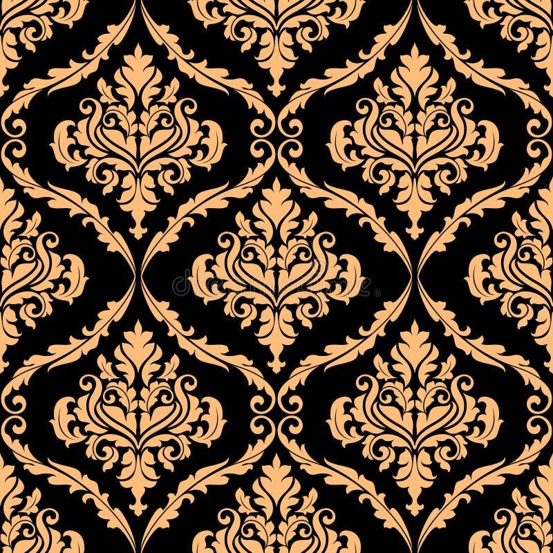 与褐色的锦缎花卉样式 库存例证