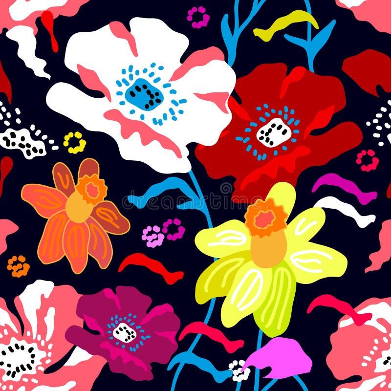 与西班牙主题的五颜六色的无缝的花卉样式 向量例证