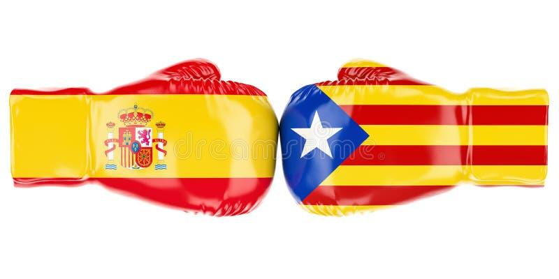 与西班牙和卡塔龙尼亚旗子,冲突概念的拳击手套 皇族释放例证