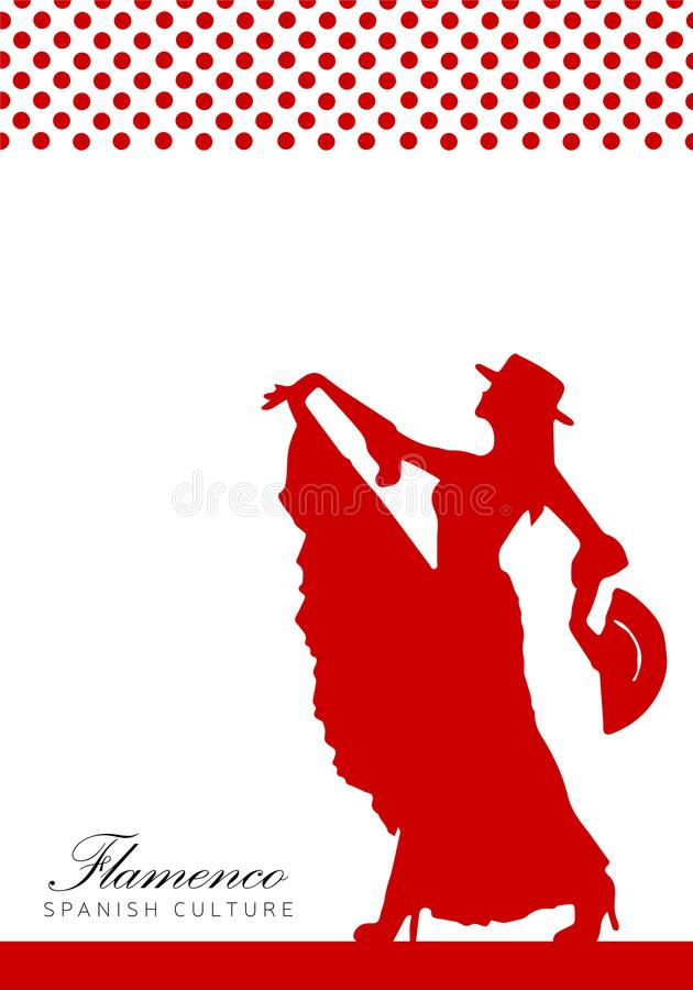 与西班牙妇女例证的海报 佛拉明柯舞曲 库存照片