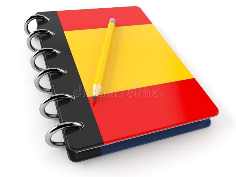 与西班牙旗子的笔记薄 库存例证