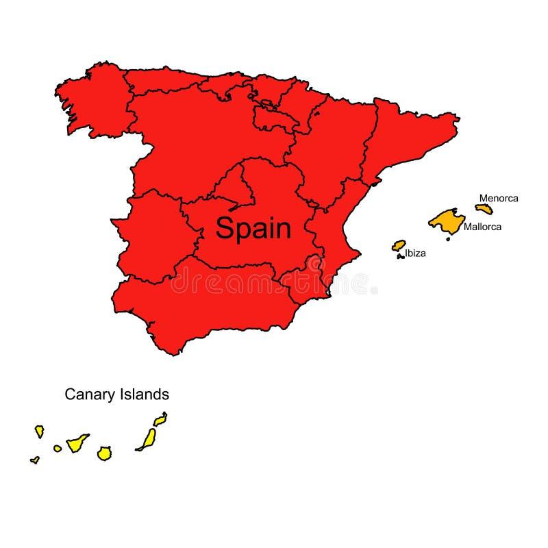 与西班牙的地理地图的例证 库存例证