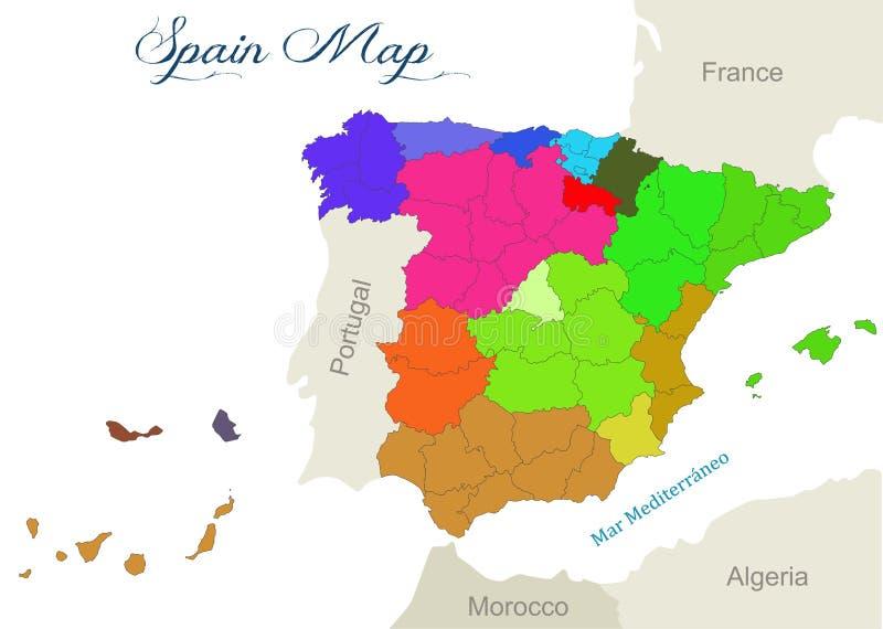 与西班牙的地理地图的例证 皇族释放例证