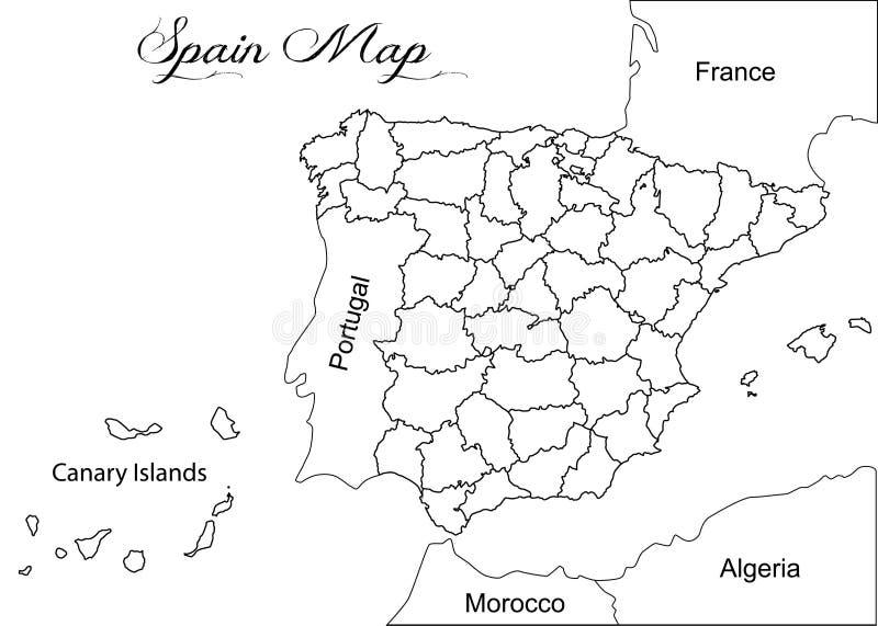 与西班牙的地理地图的例证 向量例证