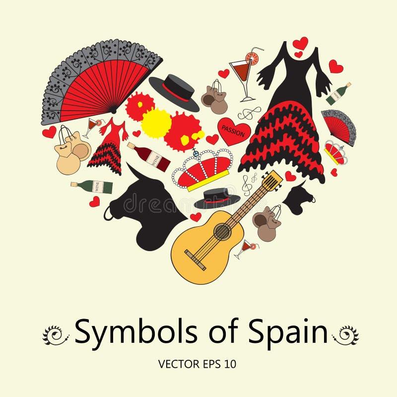 与西班牙的标志的风格化心脏 例证用于设计 向量例证
