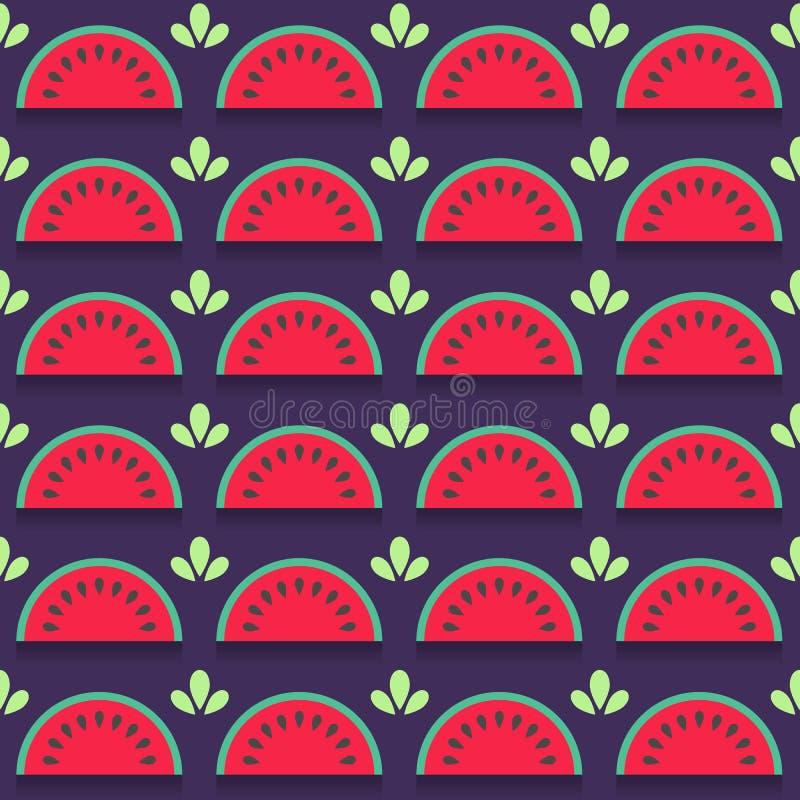 与西瓜切片的无缝的样式 向量例证