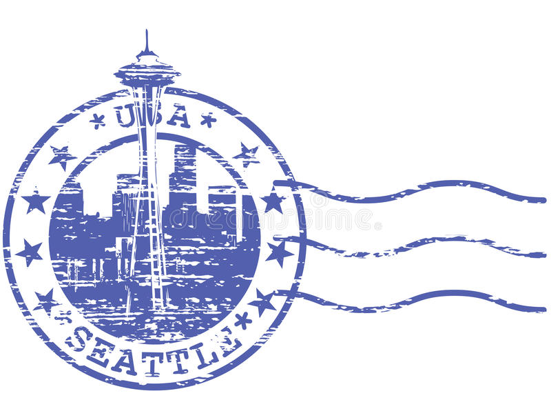与西雅图都市风景的破旧的邮票  皇族释放例证