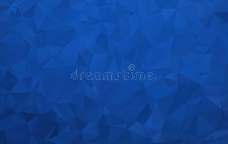 与覆盖物光线影响的抽象深蓝多角形背景机动性和网络设计的 皇族释放例证