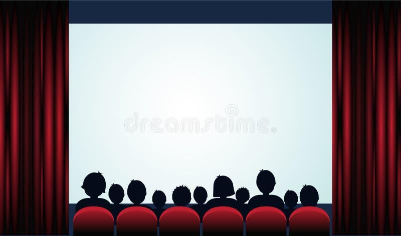 与观众、屏幕和红色帷幕的戏院海报 向量 皇族释放例证