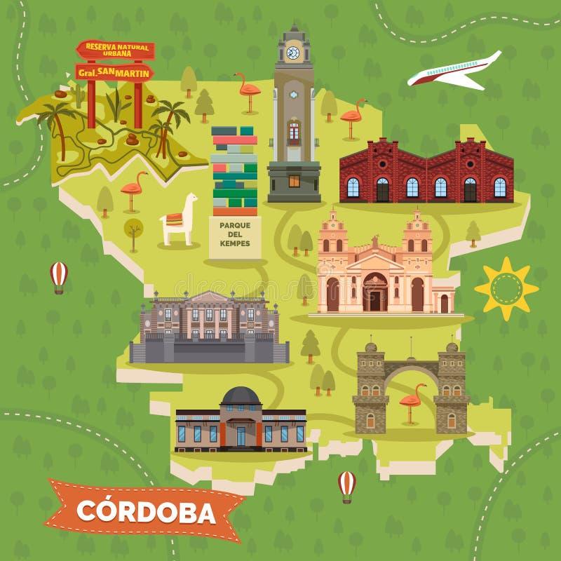 与观光的地标的阿根廷科多巴地图 向量例证