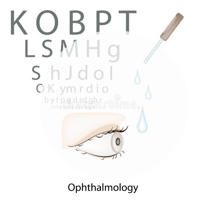 与视觉测试图的眼睛检查在白色背景 库存例证