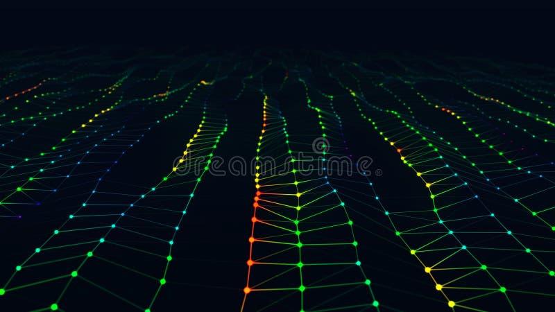 与视野的现代抽象明亮的红色,绿色和蓝色地表电波 库存例证