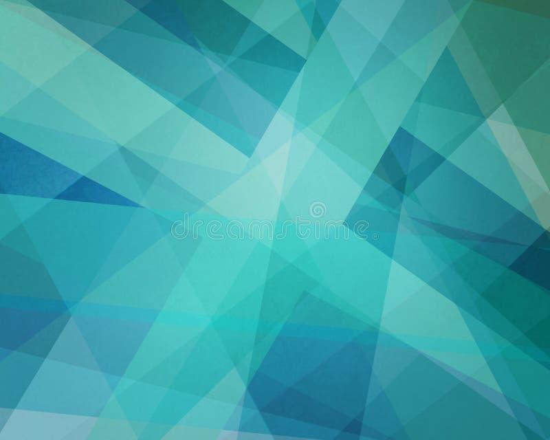 与角度和三角形状的抽象蓝色和绿色背景设计分层堆积 向量例证