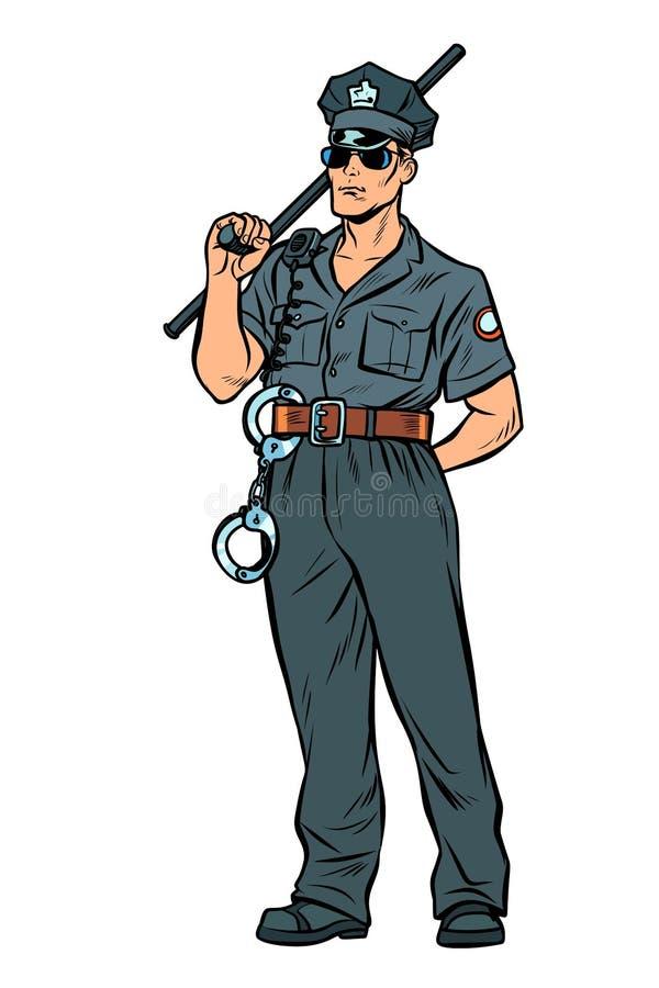 与警察警棒的流行艺术警察 库存例证