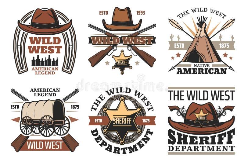 与警长牛仔帽和枪的狂放的西部标志 库存例证