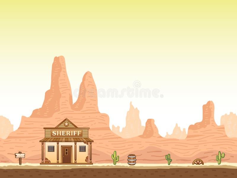 与警长的狂放,老西部峡谷背景 向量例证