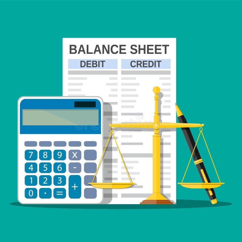 与计算器、标度和笔的资产负债表 向量例证