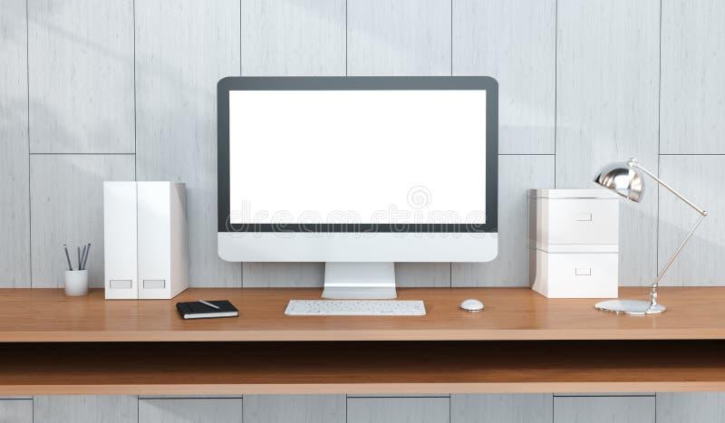 与计算机和设备3D翻译的现代工作场所内部 库存例证