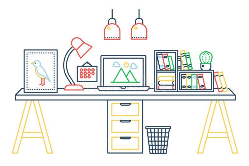 与计算机工作区和其他设备的线性办公室桌在办公室内部例证 颜色稀薄的线网 向量例证