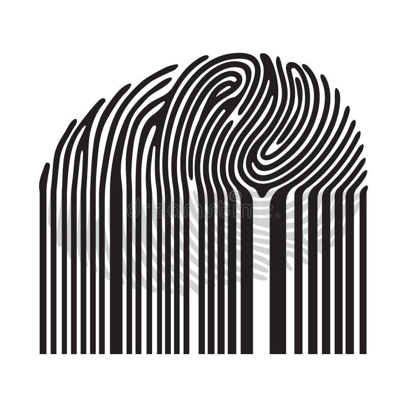 与计算机条码的黑指纹 库存例证