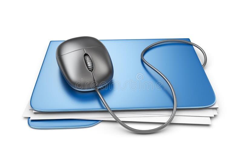 与计算机老鼠的文件夹。文件存储。3D  皇族释放例证