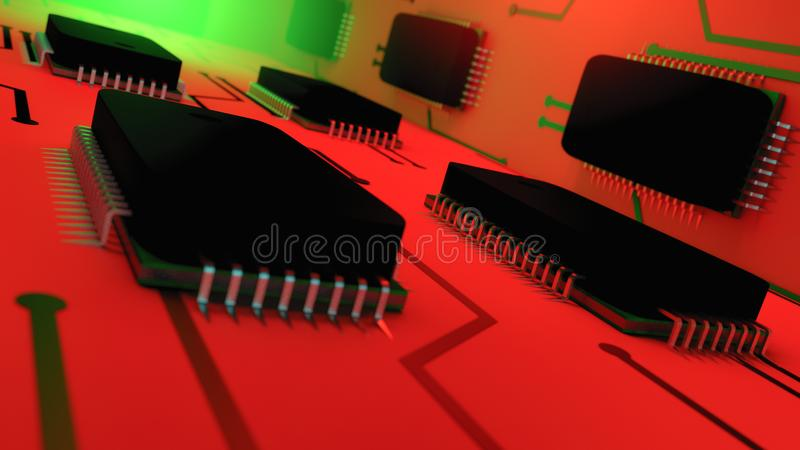 与计算机芯片的抽象背景 库存例证